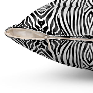 Zebra ~ Black & White ~ Spun Polyester Square Pillow