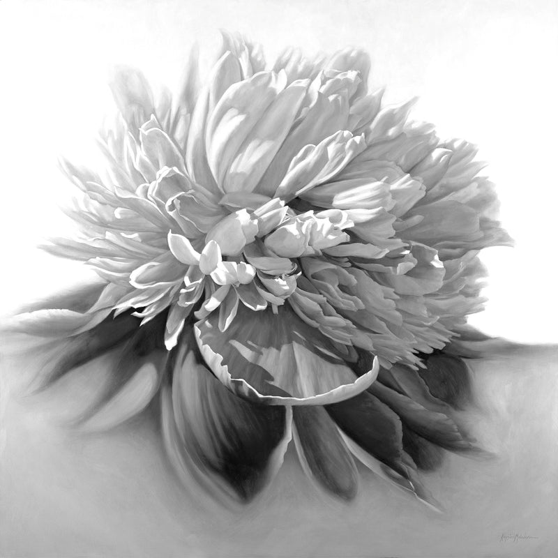 Big Blue Peony - Black & White Giclée