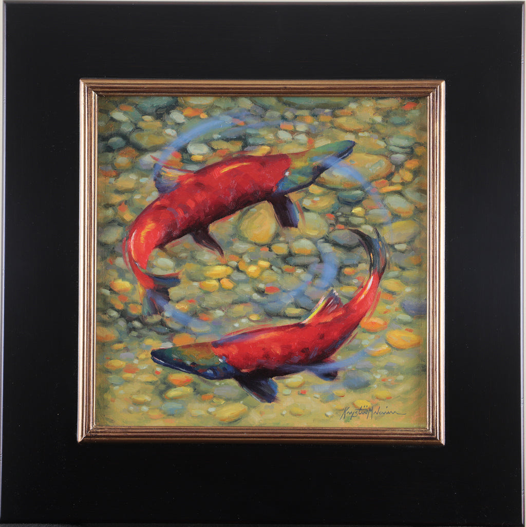 "Circle of Life - Priest Lake Kokanee Salmon  12"" x 12"""