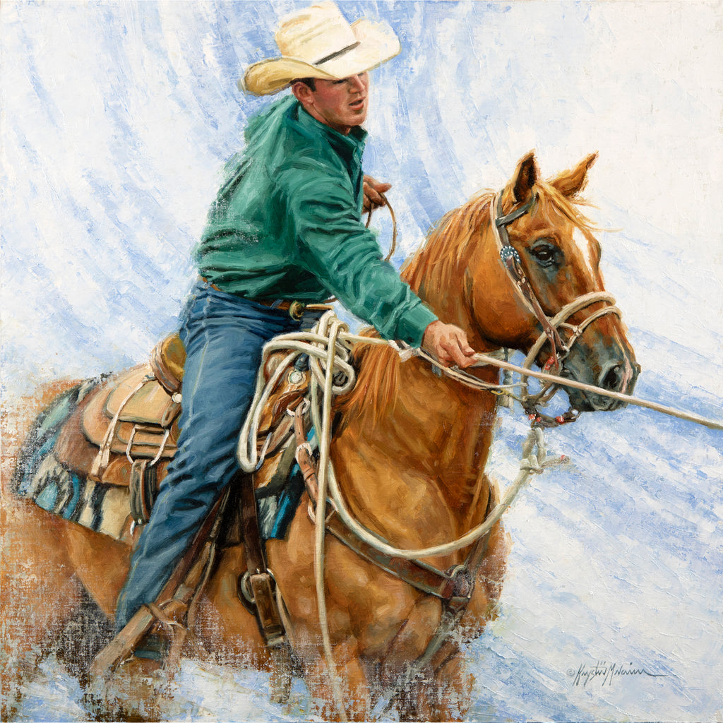 "Hold The Line  20"" x 20"" - Bosque Online Fine Art Auction"