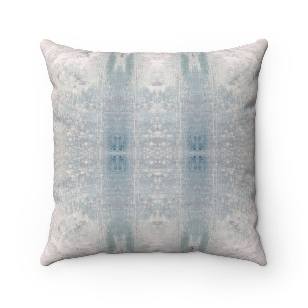 Aquarius/Coral ~ Seafoam ~ Spun Polyester Square Pillow