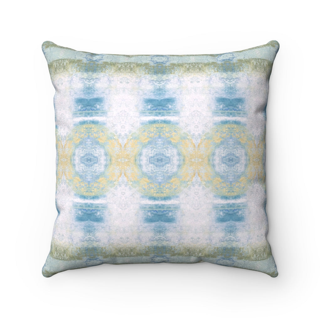 Aquarius/Shell ~ Seafoam ~ Faux Suede Square Pillow