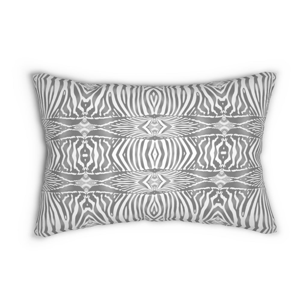 Zebra ~ Grey ~ Spun Polyester Lumbar Pillow