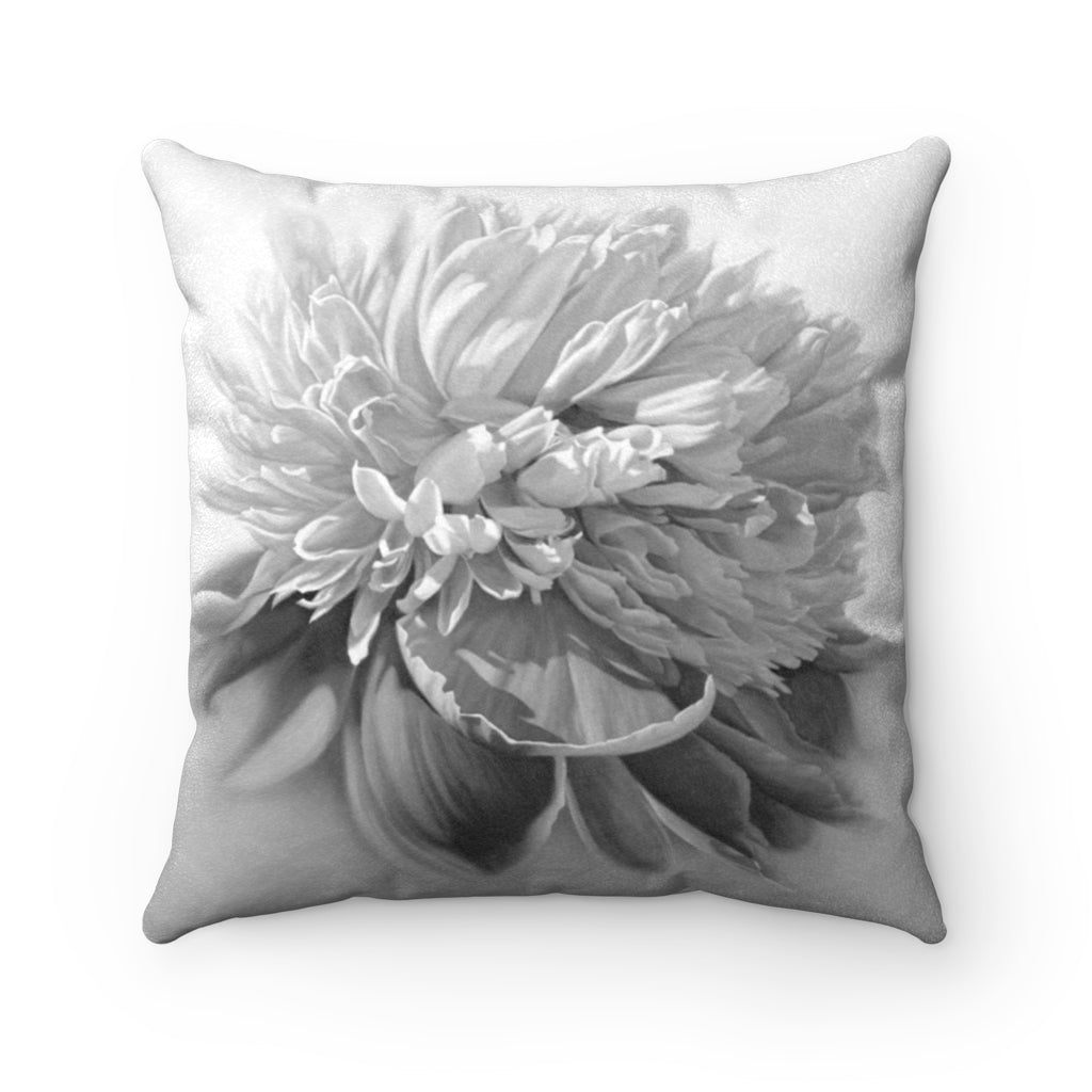 Peony ~ Grey ~ Faux Suede Square Pillow