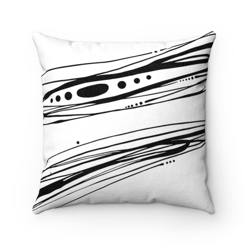 Spindrift ~ Black & White ~ Faux Suede Square Pillow