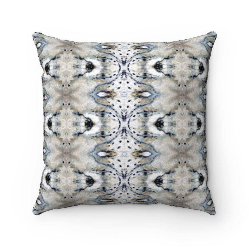 Snow Leopard ~ Natural ~ Faux Suede Square Pillow