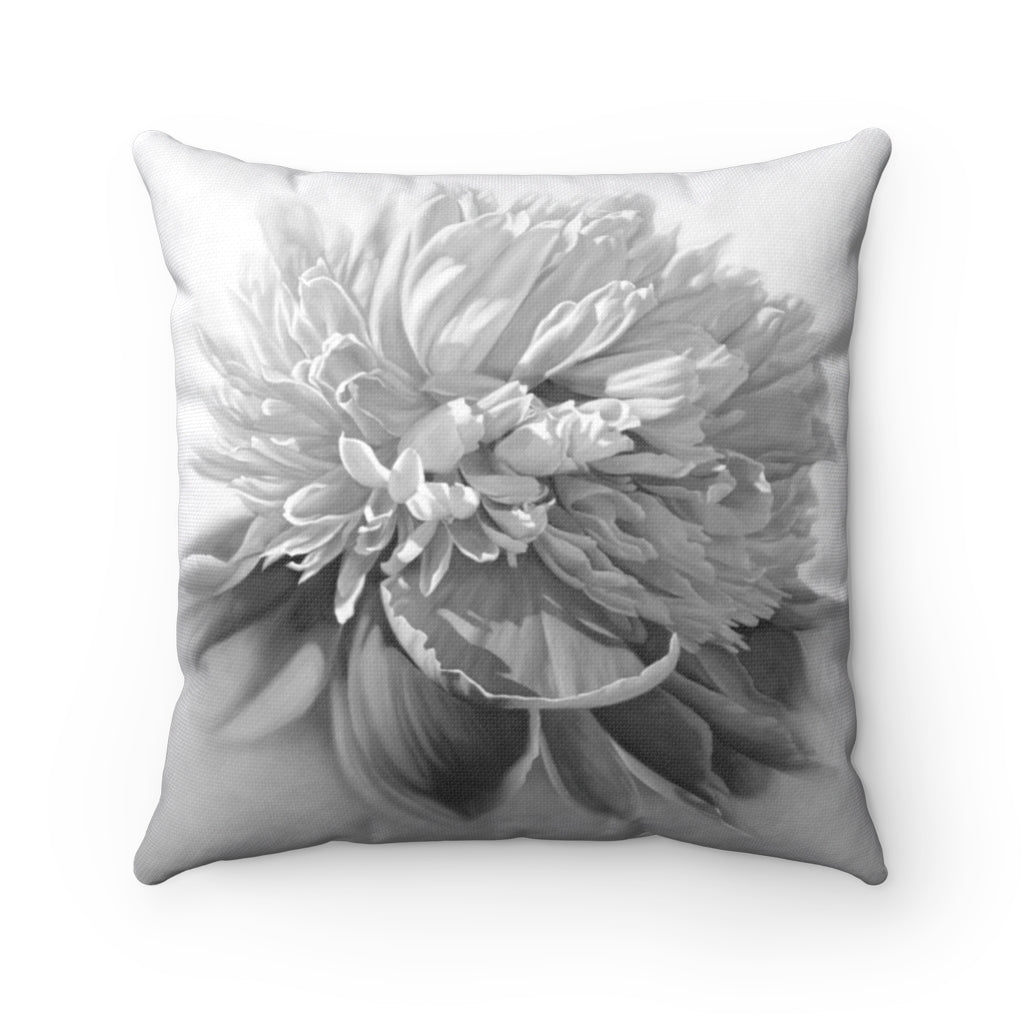 Peony ~ Grey ~ Spun Polyester Square Pillow