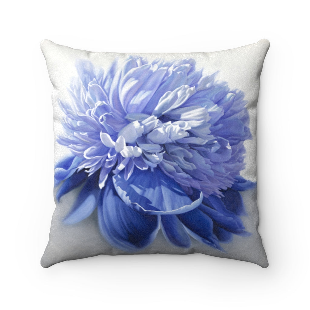 Peony ~ Blue ~ Faux Suede Square Pillow