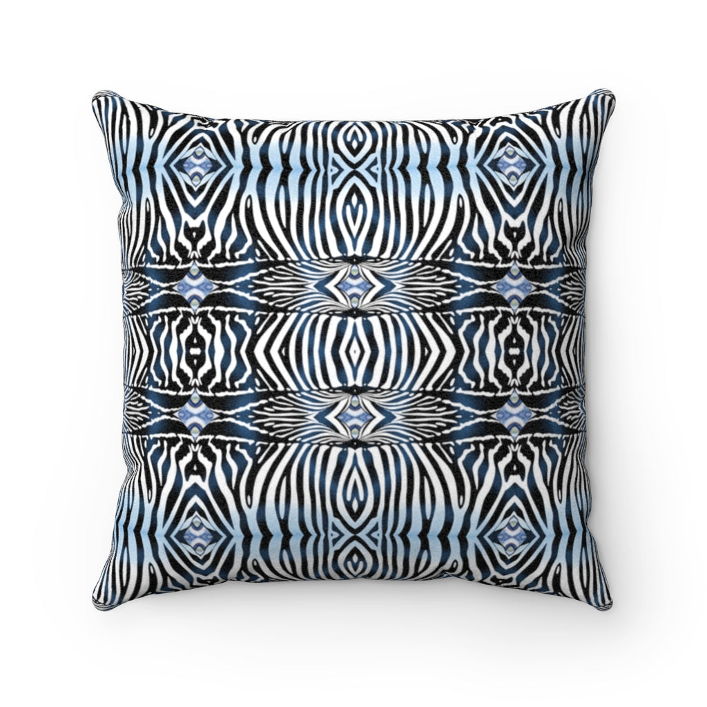 Zebra ~ Indigo ~ Faux Suede Square Pillow