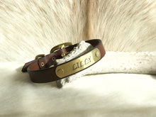 Load image into Gallery viewer, Bridle leather dog collar with name plate