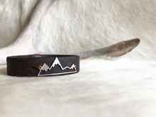 Load image into Gallery viewer, Sterling silver mountain bracelet on bridle leather