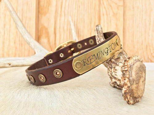 Leather dog collar with name plate and mini shot gun shells