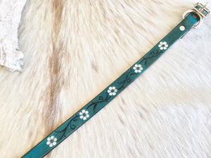 Turquoise  leather dog collar with white flowers