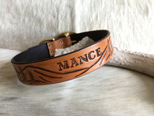 Load image into Gallery viewer, Custom dog collar with landscape design in tan