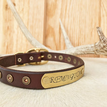 Load image into Gallery viewer, Leather dog collar with name plate and mini shot gun shells
