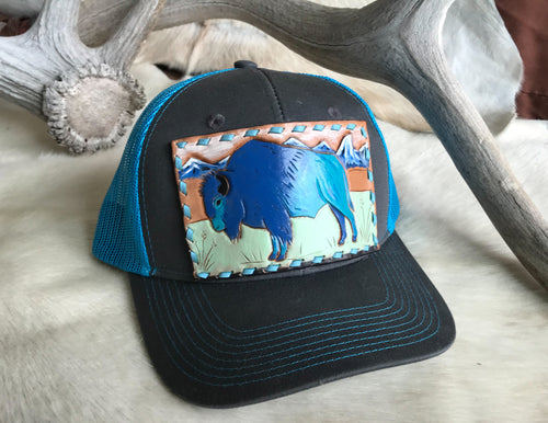 Ball cap with Bison leather patch
