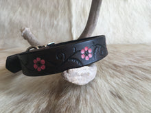Load image into Gallery viewer, Brown leather dog collar with pink flowers