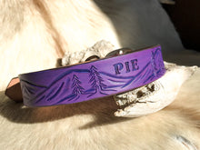 Load image into Gallery viewer, Custom dog collar with landscape design in purple