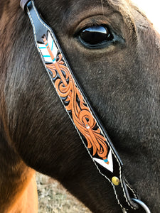 Single ear tooled bridle with feather and arrow