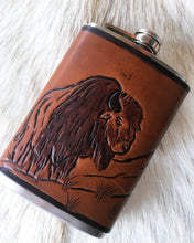 Load image into Gallery viewer, Leather wrapped flask with buffalo