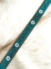 Load image into Gallery viewer, Custom leather dog collar with your pets name in turquoise and white