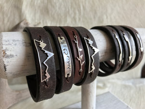 Sterling silver mountain bracelet on bridle leather
