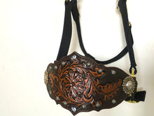 Load image into Gallery viewer, Bronc halter in tan and dark brown with studs