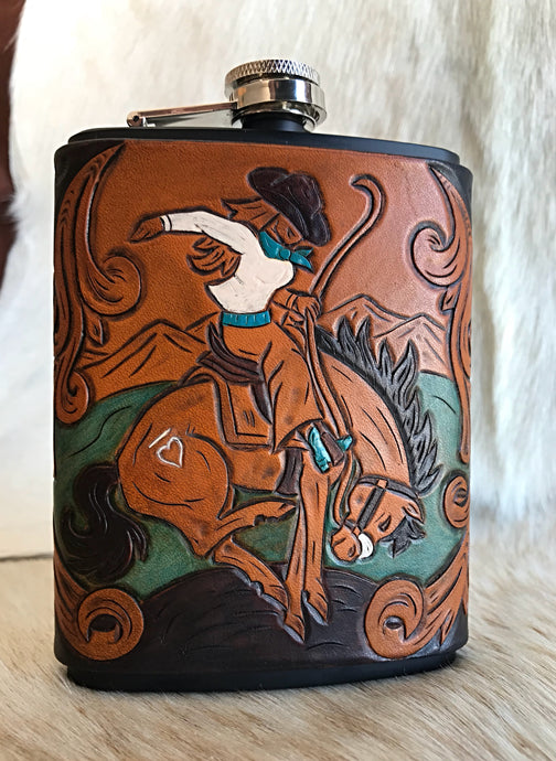 Bucking horse cowgirl flask