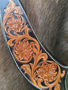 Pulling collar, hand tooled Sheridan style design