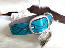 Load image into Gallery viewer, Custom dog collar with landscape design in turquoise