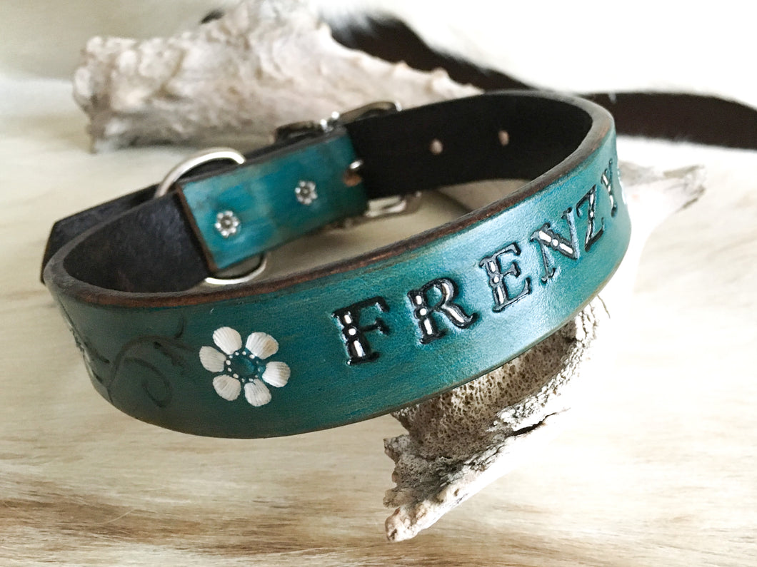 Custom leather dog collar with your pets name in turquoise and white