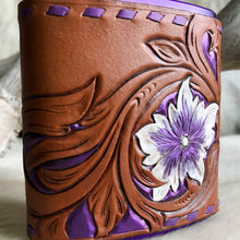 Load image into Gallery viewer, Leather wrapped flask in purple with flower design