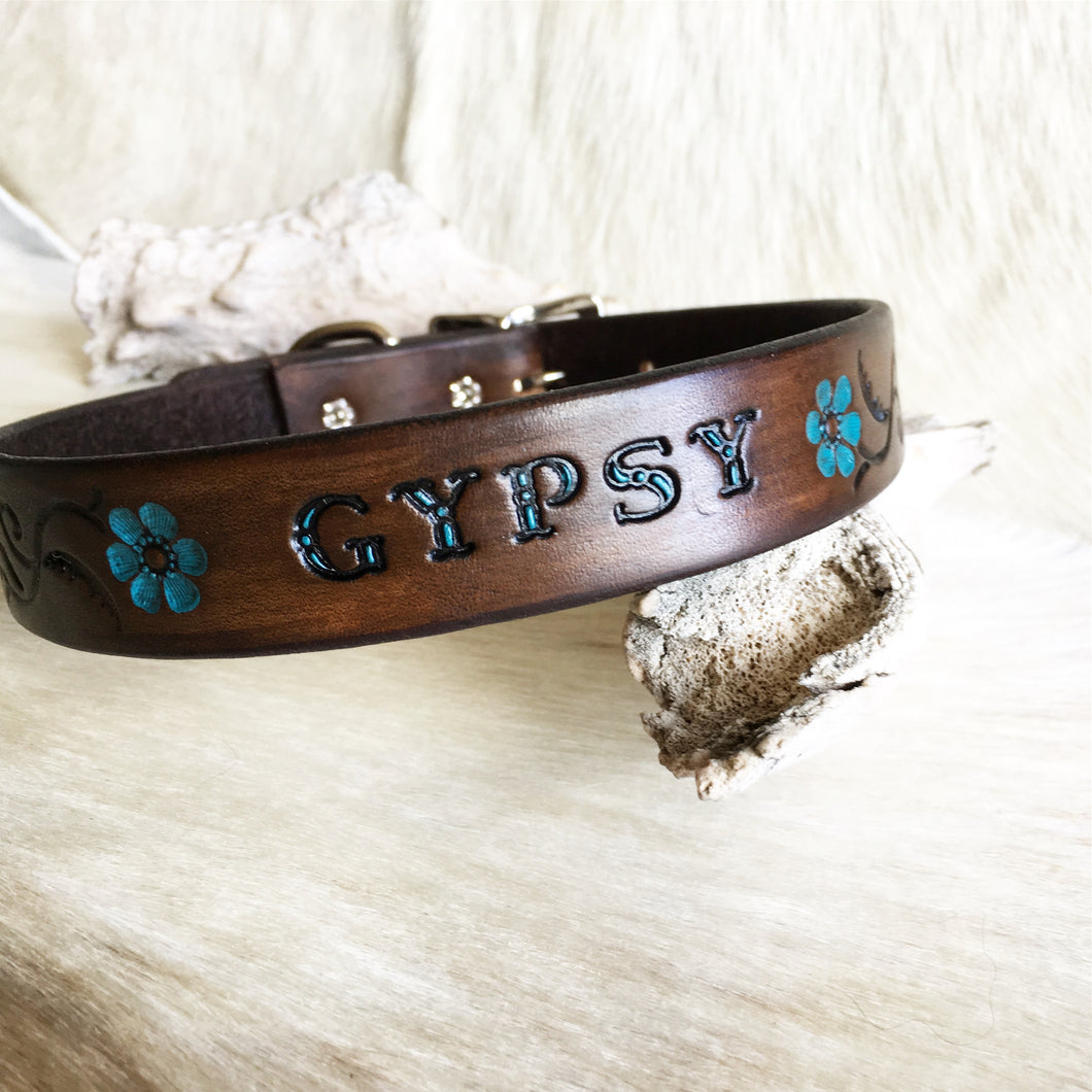 Custom leather dog collar with your pets name in brown and turquoise