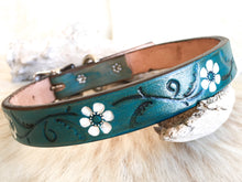 Load image into Gallery viewer, Turquoise  leather dog collar with white flowers