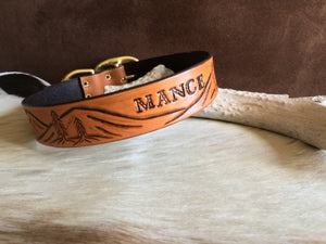 Custom dog collar with landscape design in tan