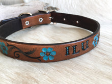 Load image into Gallery viewer, Custom leather dog collar with your pets name in brown and turquoise