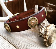 Load image into Gallery viewer, Shotgun shells dog collar on bridle leather