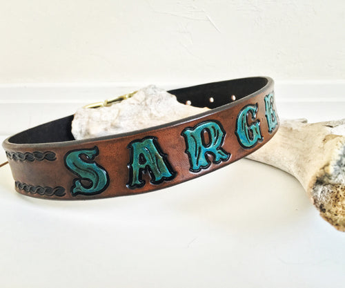 Custom dog collar with turquoise letters and rope design