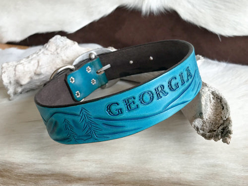Custom dog collar with landscape design in turquoise