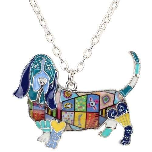 Basset Hound Enamel Necklace Necklace Blue Tiny Beast Designs
