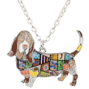 Basset Hound Enamel Necklace Necklace Brown Tiny Beast Designs