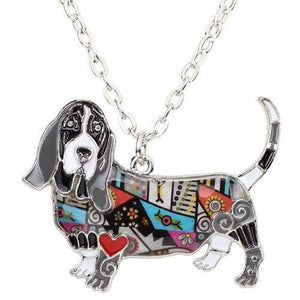 Basset Hound Enamel Necklace Necklace Grey Tiny Beast Designs