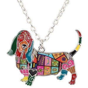 Basset Hound Enamel Necklace Necklace Multicolor Tiny Beast Designs