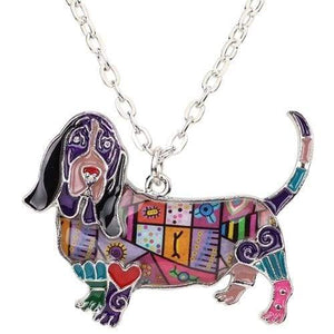 Basset Hound Enamel Necklace Necklace Purple Tiny Beast Designs