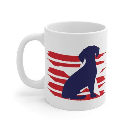 Beagle American Stripes Mug Mug 11oz Tiny Beast Designs
