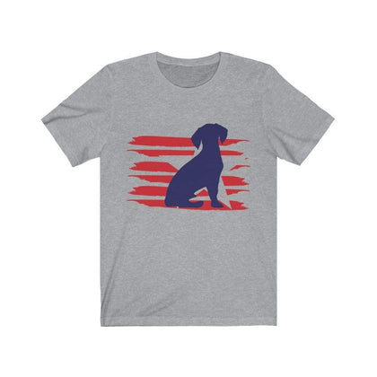 Beagle American Stripes Shirt T-Shirt Athletic Heather / S Tiny Beast Designs