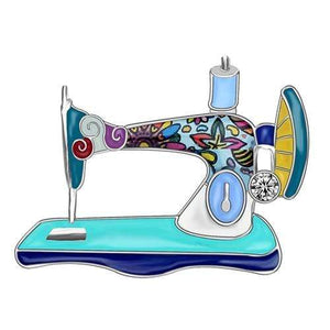Bonsny Enamel Alloy Rhinestone Sewing Machine Brooches Pin Jewelry For Women Teens Scarf Decorations Gift Novelty Bijoux Blue / United States Tiny Beast Designs