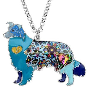 Border Collie Enamel Necklace Necklace Blue Tiny Beast Designs