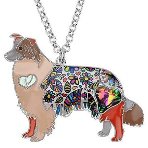 Border Collie Enamel Necklace Necklace Brown Tiny Beast Designs