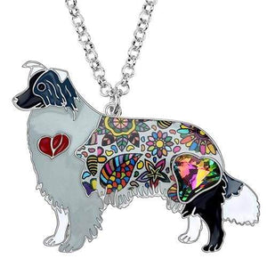 Border Collie Enamel Necklace Necklace Grey Tiny Beast Designs